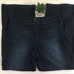 Mossimo Wide Leg Dark Denim Jeans Sz 16